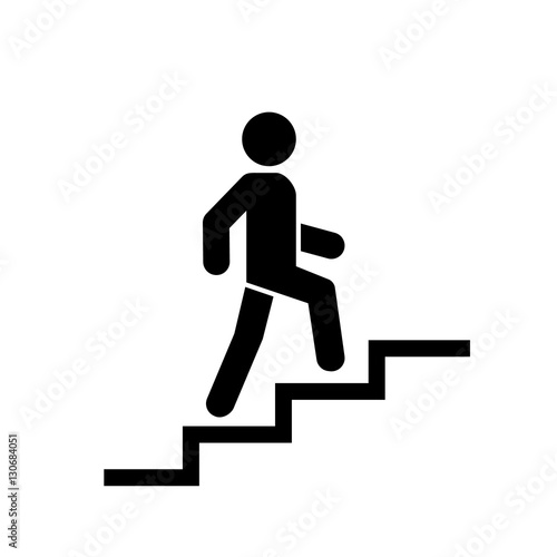 Upstairs icon sign. Walk man in the stairs. Career Symbol. flat design. Vector illustration. Fototapete