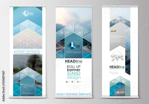 Roll up banner stands, flat design, abstract geometric templates, modern business layouts, corporate vertical vector flyers. Blue color travel decoration, easy editable, colorful natural landscape.