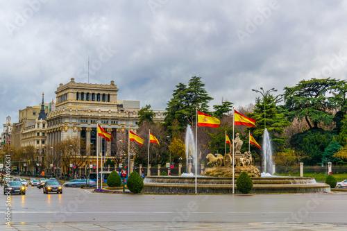 In de dag Cibeles Fountain at Plaza de Cibeles in evening. Madrid, Spain