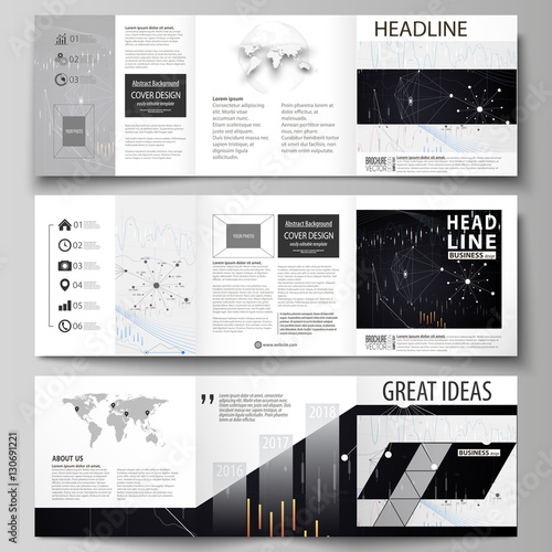 Business Templates For Tri Fold Square Design Brochures Leaflet Cover Vector Layout Abstract