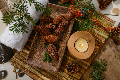 Papiers peints Spa Spa treatment with Christmas decorations