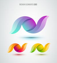 Vector Abstract Design Icons Set. Glossy Logo Abstract Shapes