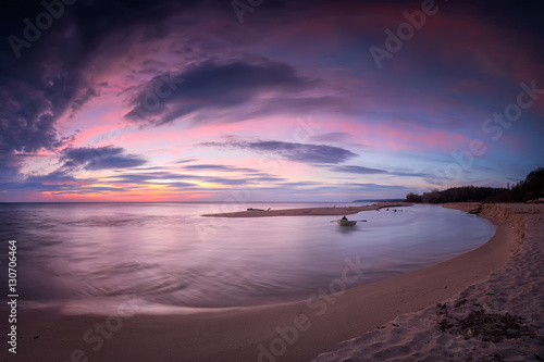 Foto op Aluminium Aubergine Sea sunrise / Magnificent panoramic view of one of the most beautiful wild beaches at the Black Sea coast and the estuary of Kamchia river, Bulgaria