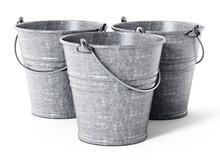 Empty Metal Bucket Isolated On...