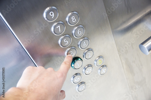 Photo sur Aluminium Macarons In the elevator floor buttons