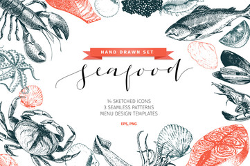 Fototapeta Vector hand drawn set of seafood icons. Lobster, salmon, crab, shrimp, ocotpus, squid and clams. Delicious menu objects.