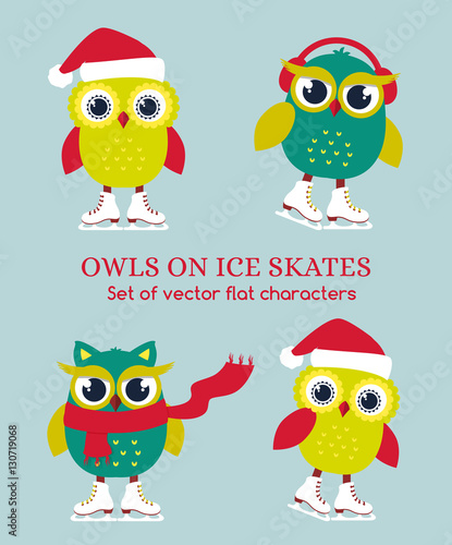 Poster Uilen cartoon Funny owls on ice skates. Vector illustration.