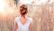 canvas print picture - Natürliches romantisches Make-up und Styling für eine Hochzeit