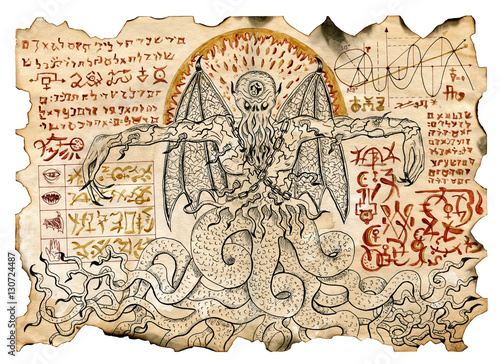 Fotografia Old parchment with mystic drawings with evil demon and black magic symbols