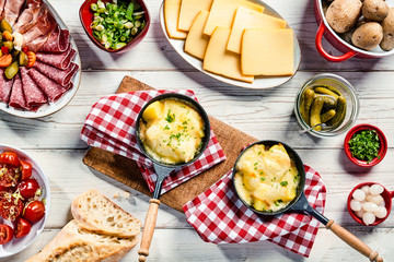 Delicious restaurant dinner with Swiss raclette