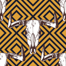 Vector Seamless Geometric Pattern With Hand Drawn Buffalo Skulls. Tribal Ornament With Bull White Scull On Black And Yellow Background. Design For Fashion Boho Textile Print, Wrapping.