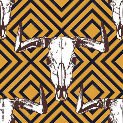 Photo sur Toile Crâne aquarelle Vector seamless geometric pattern with hand drawn buffalo skulls. Tribal ornament with bull white scull on black and yellow background. Design for fashion boho textile print, wrapping.