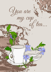 Fototapeta Herbata Vintage poster with teapot and cup and flowers of periwinkle on brown background.