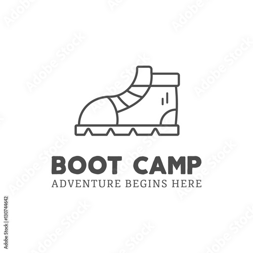 Fotografie, Obraz  Camping adventure logo design with boot and typography elements