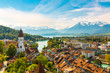 canvas print picture - Panorama of Thun city with Alps and Thunersee lake, Switzerland.
