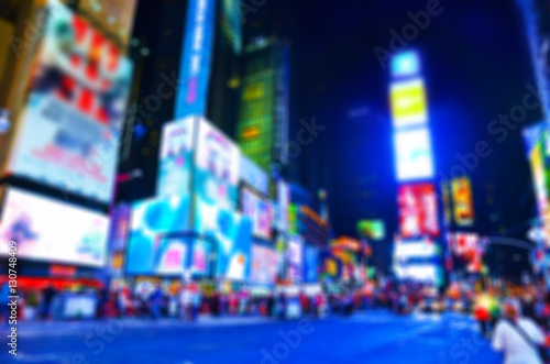 Fototapeta View of Times Square at night in New York City with blurred effect