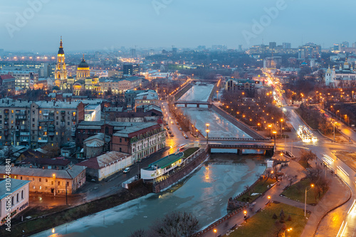 Poster Cracovie Top view of the Annunciation Cathedral, Zalopan district and center of Kharkiv. Lopan Bridge, Kupecheskiy Bridge, Bursatsky bridge over the river Lopan.