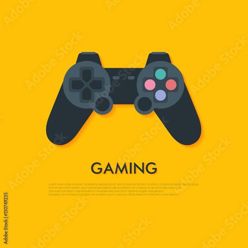 Flat joystick icon with lon...