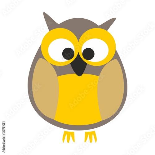 Deurstickers Uilen cartoon Owl vector illustration isolated on white background