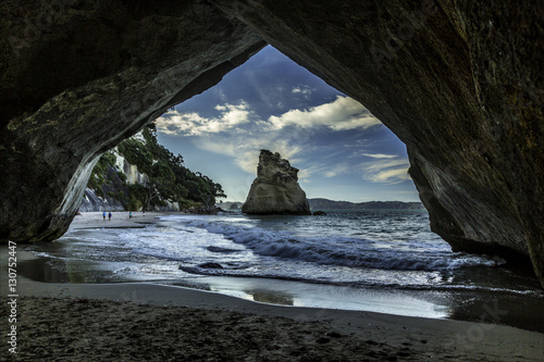 Montage in der Fensternische Cathedral Cove Cathedral Cove New Zealand