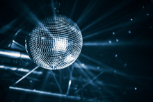 Disco Ball With Bright Rays, Blue Toned
