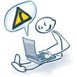 Strichmännchen mit Laptop und Rufzeichen