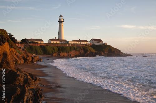 Montage in der Fensternische Leuchtturm Pigeon Point Lighthouse in California