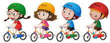 Four Kids Riding Bike With Helmet On