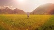 man running on grass field. summertime background