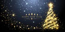 Greeting Card Golden Christmas Tree. Vector