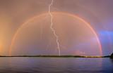 Fototapeta Tęcza - Rainbow and Lightning