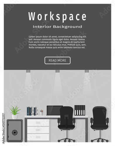 Web Design Banner Of Modern Office Workplace Workspace Organization Concept Buy This Stock Vector And Explore Similar Vectors At Adobe Stock Adobe Stock