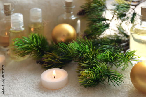 Fototapety, obrazy: Spa treatment with Christmas decorations
