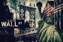 New York City Collage Including The Statue Of Liberty And Severa