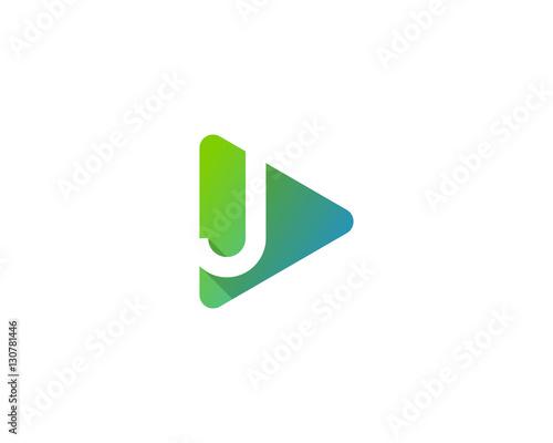 letter j play media logo design template element