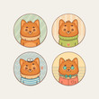 Stickers Set with Cute Cartoon Fox