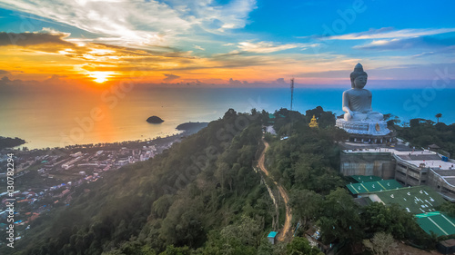 aerial photography sweet sunset at Phuket's big Buddha