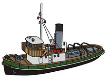 Hand Drawing Of An Old Tugboat...