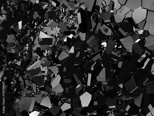 Dark chaoric particles. Explosion of black metallic wall. Abstra - 130788667