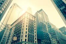 Wall Street Skyscrapers, Manhattan, New York - Vintage Style