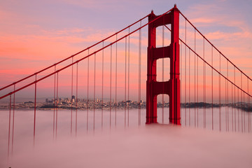 FototapetaFirst Tower of the Golden Gate Bridge in Fog