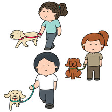 Vector Set Of People And Dog