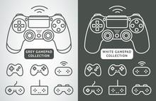 Simple Vector Gamepad Icon Set. Joypad, Joystick Illustration Isolated On White Background. Simple Game Elements