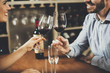 canvas print picture - Handsome young couple on the date in wine bar