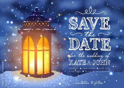 A Christmas Wedding Date.Amazing Vintage Lantern On Snow With Magical Lights At The