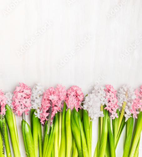 Foto-Tapete - Fresh hyacinths flowers border on white wooden background, top view. Springtime concept (von VICUSCHKA)