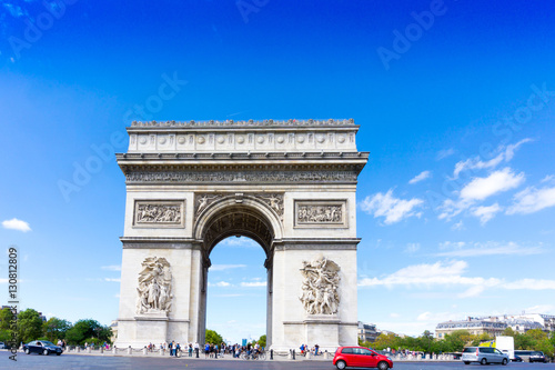Valokuvatapetti PARIS, FRANCE - August 28, 2016 : Arc de triomphe in Paris, one