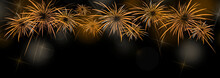 New Year Banner  Background With Colorful Gold And Yellow Fireworks