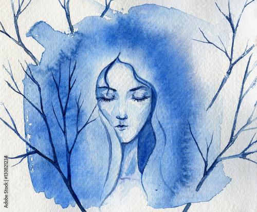 recznie-malowane-twarz-kobiety-akwarela-w-kolorach-niebieskim