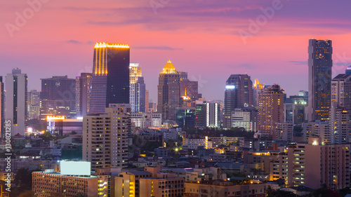 Poster Chicago Dramatic twilight sky after sunset, Bangkok city office building business downtown